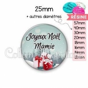 Cabochon en résine epoxy Joyeux Noël Mamie (113BLE01)