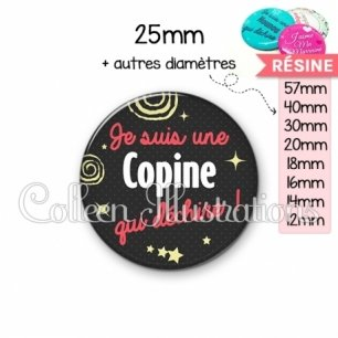 Cabochon en résine epoxy Copine qui déchire (125NOI01)