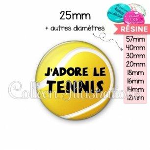 Cabochon en résine epoxy J'adore le tennis (130JAU01)