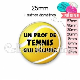Cabochon en résine epoxy Prof de tennis qui déchire (130JAU01)