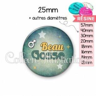 Cabochon en résine epoxy Beau gosse (134VER01)