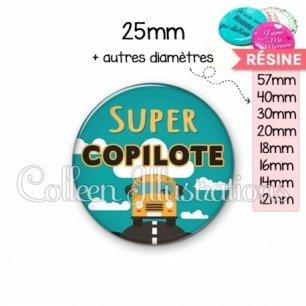 Cabochon en résine epoxy Super copilote (136VER01)