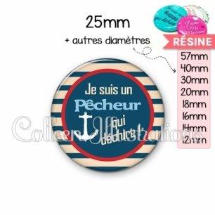 Cabochon en résine epoxy Pêcheur qui déchire (146BLE01)