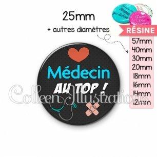 Cabochon en résine epoxy Médecin au top (155NOI01)