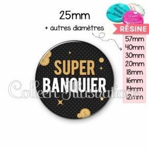 Cabochon en résine epoxy Super banquier (158GRI01)