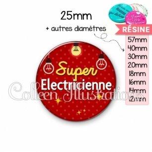 Cabochon en résine epoxy Super électricienne (159ROU01)