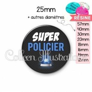 Cabochon en résine epoxy Super policier (162GRI01)