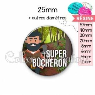 Cabochon en résine epoxy Super bûcheron (171MUL01)