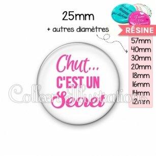 Cabochon en résine epoxy Chut… c'est un secret (181BLA01)