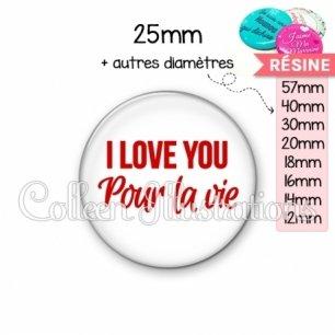 Cabochon en résine epoxy I love you pour la vie (181BLA02)