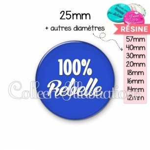 Cabochon en résine epoxy 100% rebelle (181BLE09)