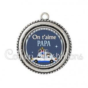 Pendentif résine Papa on t'aime (031BLE01)