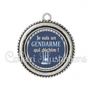 Pendentif résine Un gendarme qui déchire (031BLE02)