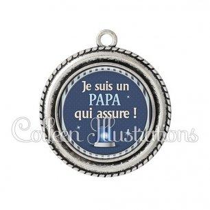 Pendentif résine Papa qui assure (031BLE02)