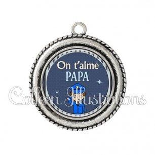 Pendentif résine Papa on t'aime (031BLE03)