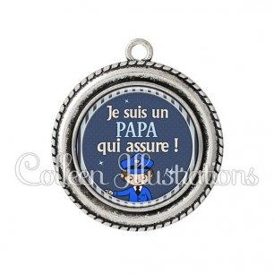 Pendentif résine Papa qui assure (031BLE04)