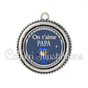 Pendentif résine Papa on t'aime (031BLE05)