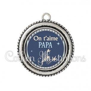Pendentif résine Papa on t'aime (031BLE06)