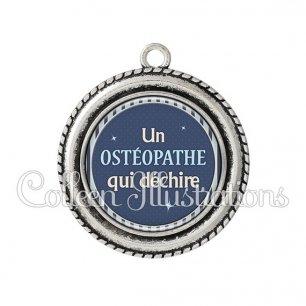 Pendentif résine Ostéopathe qui déchire (031BLE07)