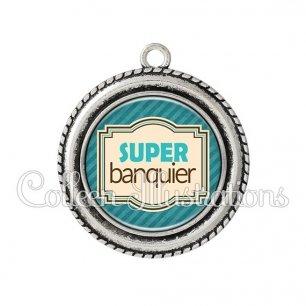 Pendentif résine Super banquier (004BLE01)