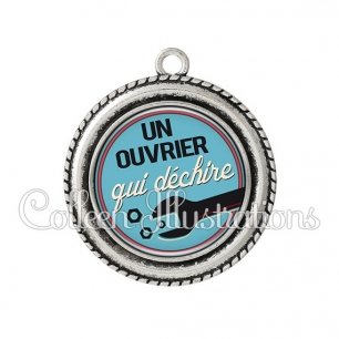 Pendentif résine Ouvrier qui déchire (032BLE02)