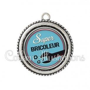 Pendentif résine Super bricoleur (032BLE02)