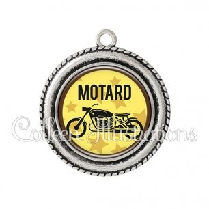 Pendentif résine Motard (032JAU01)