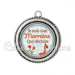 Pendentif résine Marraine qui déchire (032VER03)