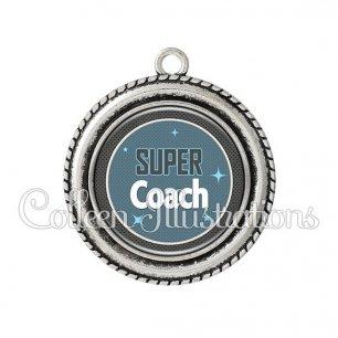 Pendentif résine Super coach (034BLE01)