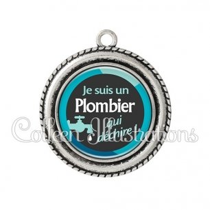 Pendentif résine Plombier qui déchire (034BLE02)