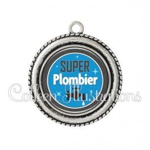 Pendentif résine Super plombier (034BLE03)