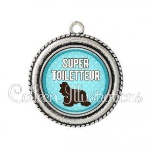 Pendentif résine Super toiletteur (035BLE01)