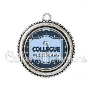 Pendentif résine Collègue qui déchire (004BLE02)