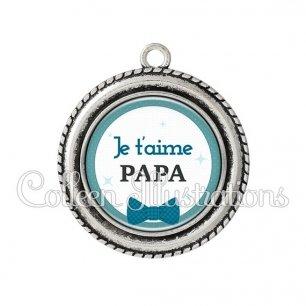 Pendentif résine Papa je t'aime (036BLE01)