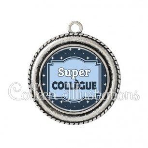Pendentif résine Super collègue (004BLE02)