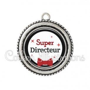 Pendentif résine Super directeur (036NOI01)