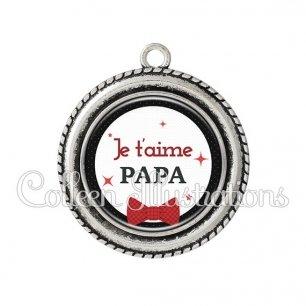 Pendentif résine Je t'aime papa (036NOI01)