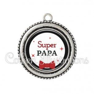 Pendentif résine Super papa (036NOI01)