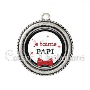Pendentif résine Papi je t'aime (036NOI01)