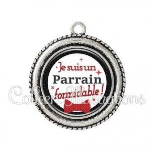 Pendentif résine Parrain formidable (036NOI01)