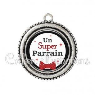 Pendentif résine Super parrain (036NOI01)