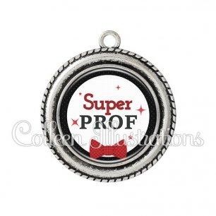 Pendentif résine Super prof (036NOI01)