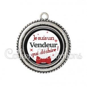 Pendentif résine Vendeur qui déchire (036NOI01)