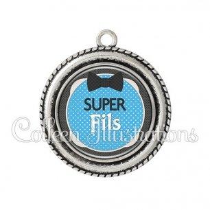 Pendentif résine Super fils (037BLE01)