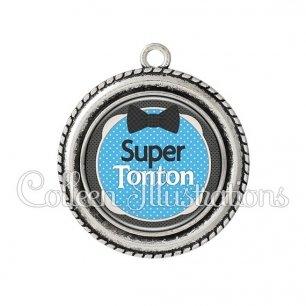 Pendentif résine Super tonton (037BLE01)