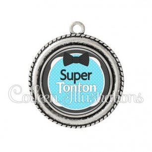 Pendentif résine Super tonton (037BLE02)