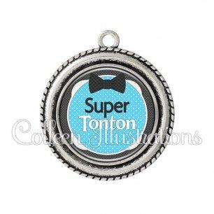 Pendentif résine Super tonton (037BLE03)
