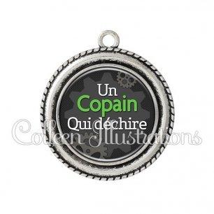 Pendentif résine Copain qui déchire (038GRI01)