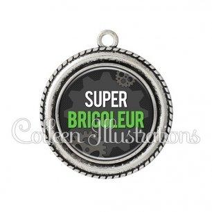 Pendentif résine Super bricoleur (038GRI01)