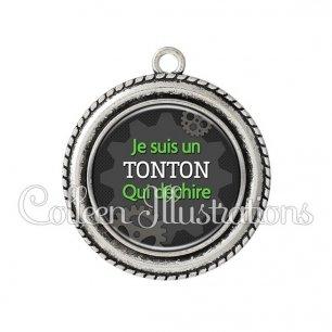 Pendentif résine Tonton qui déchire (038GRI01)